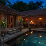 Traditional Vietnamese Pool House pool terrace sunset view Pilgrimage Village